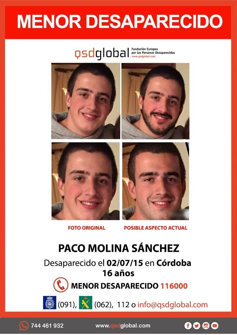 Cartel con el posible aspecto actual de Paco Molina.