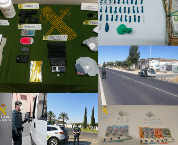 Materiales incautados y dispositivos de la Guardia Civil.
