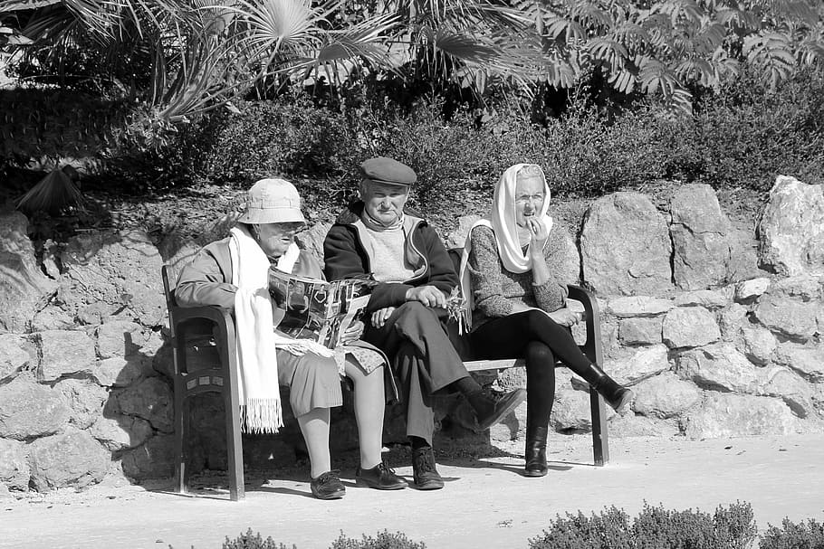 people bench watch old people